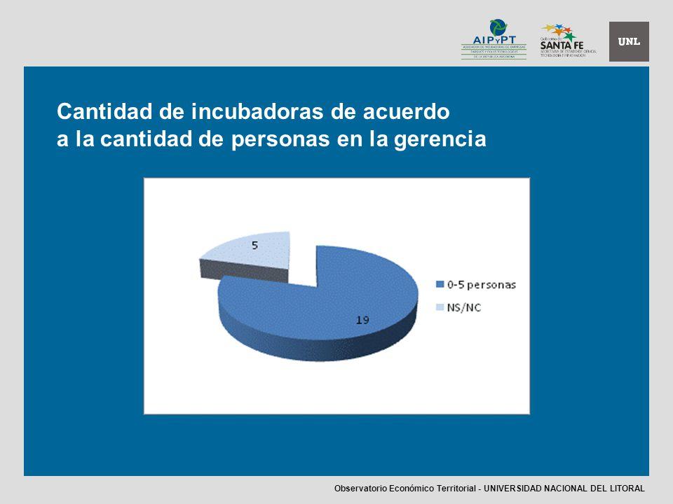 Cantidad de incubadoras de acuerdo a la cantidad de personas en la gerencia Observatorio Económico Territorial - UNIVERSIDAD NACIONAL DEL LITORAL