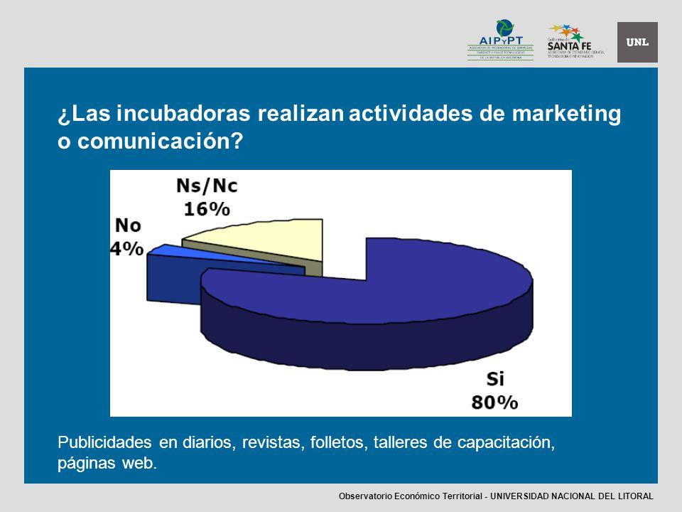¿Las incubadoras realizan actividades de marketing o comunicación.