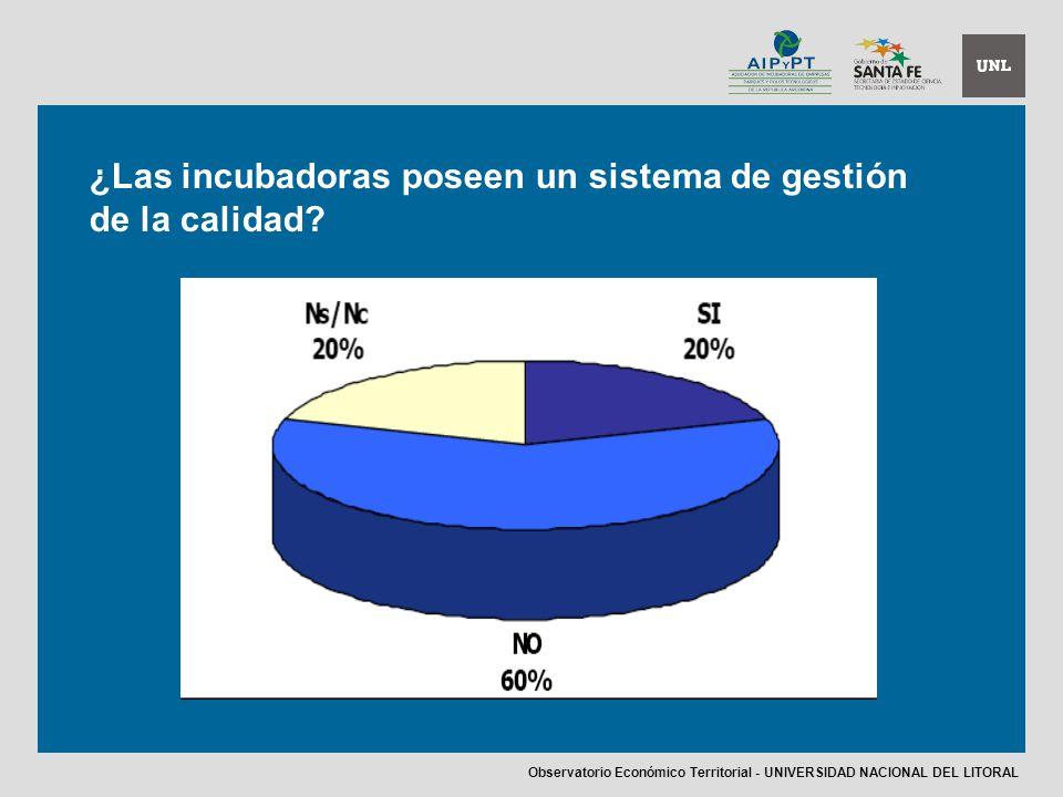 ¿Las incubadoras poseen un sistema de gestión de la calidad.