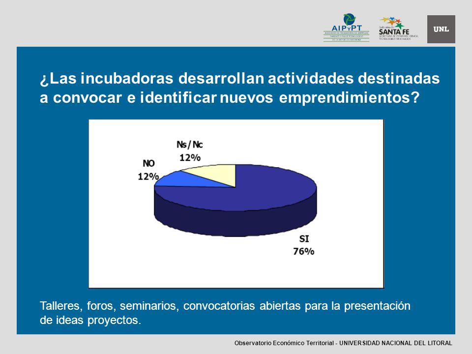 ¿Las incubadoras desarrollan actividades destinadas a convocar e identificar nuevos emprendimientos.