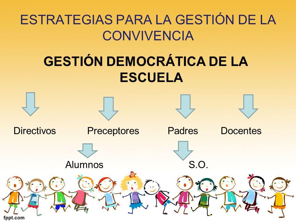 ESTRATEGIAS PARA LA GESTIÓN DE LA CONVIVENCIA GESTIÓN DEMOCRÁTICA DE LA ESCUELA Directivos Preceptores PadresDocentes Alumnos S.O.