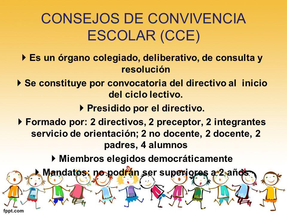 CONSEJOS DE CONVIVENCIA ESCOLAR (CCE) Es un órgano colegiado, deliberativo, de consulta y resolución Se constituye por convocatoria del directivo al i