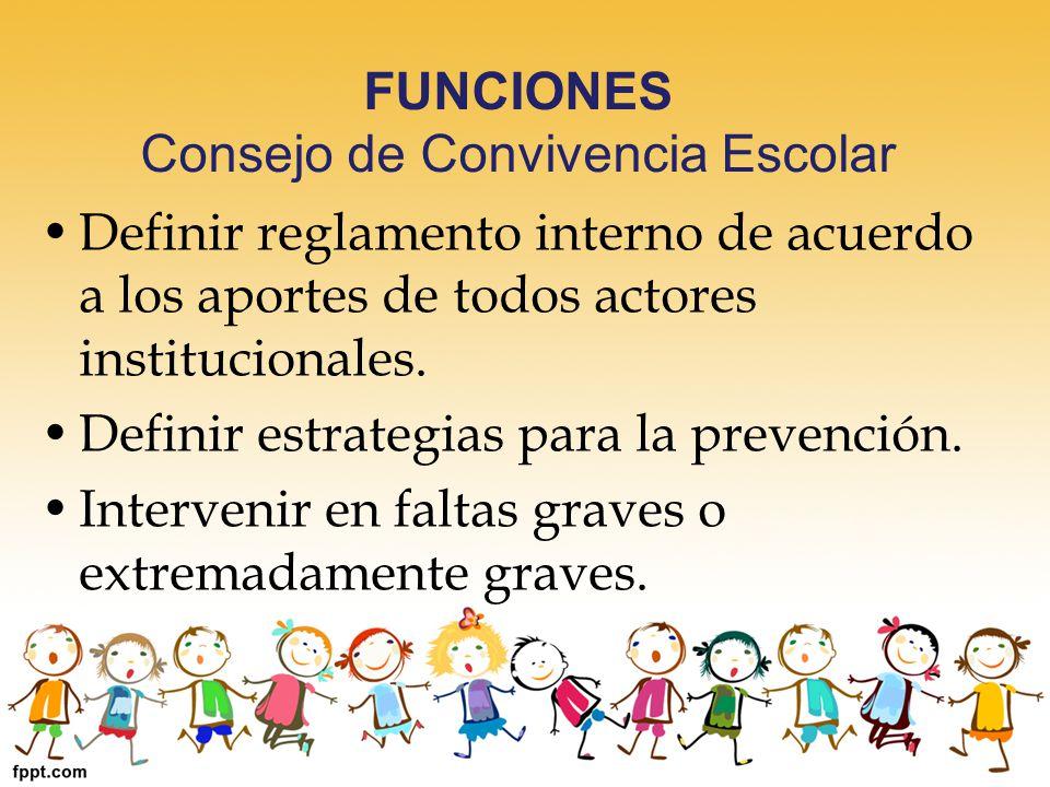 FUNCIONES Consejo de Convivencia Escolar Definir reglamento interno de acuerdo a los aportes de todos actores institucionales. Definir estrategias par