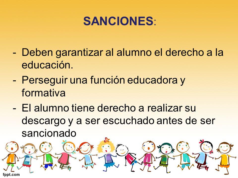 SANCIONES : -Deben garantizar al alumno el derecho a la educación. -Perseguir una función educadora y formativa -El alumno tiene derecho a realizar su