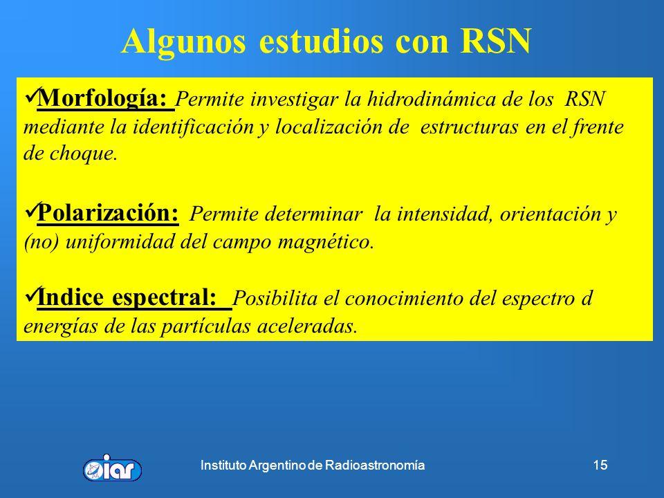 Instituto Argentino de Radioastronomía14 Clases de Remanentes de Supernova (RSN) (http://www.mrao.cam.ac.uk/surveys/) Pleriones (Cangrejo) Cáscara (Ty
