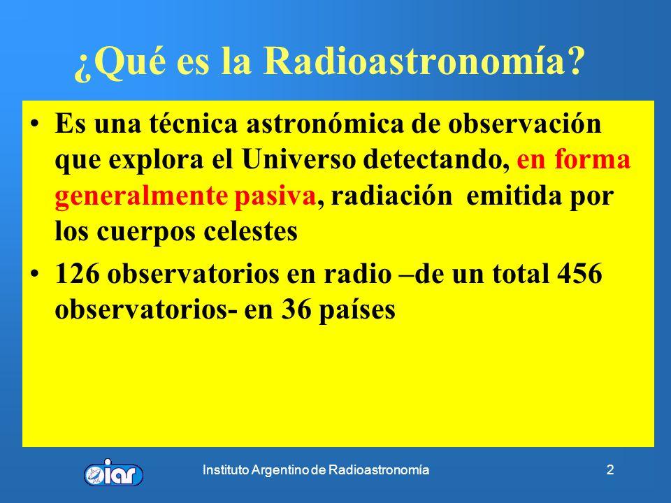 Instituto Argentino de Radioastronomía22 PULSARES Baade y Zwicky (1934): estrellas de neutrones como etapa final 1488 pulsares galácticos catalogados hasta el momento (*) Gran mayoría sólo en radio, pero también en γ, X, óptico e IR Radiación no térmica.