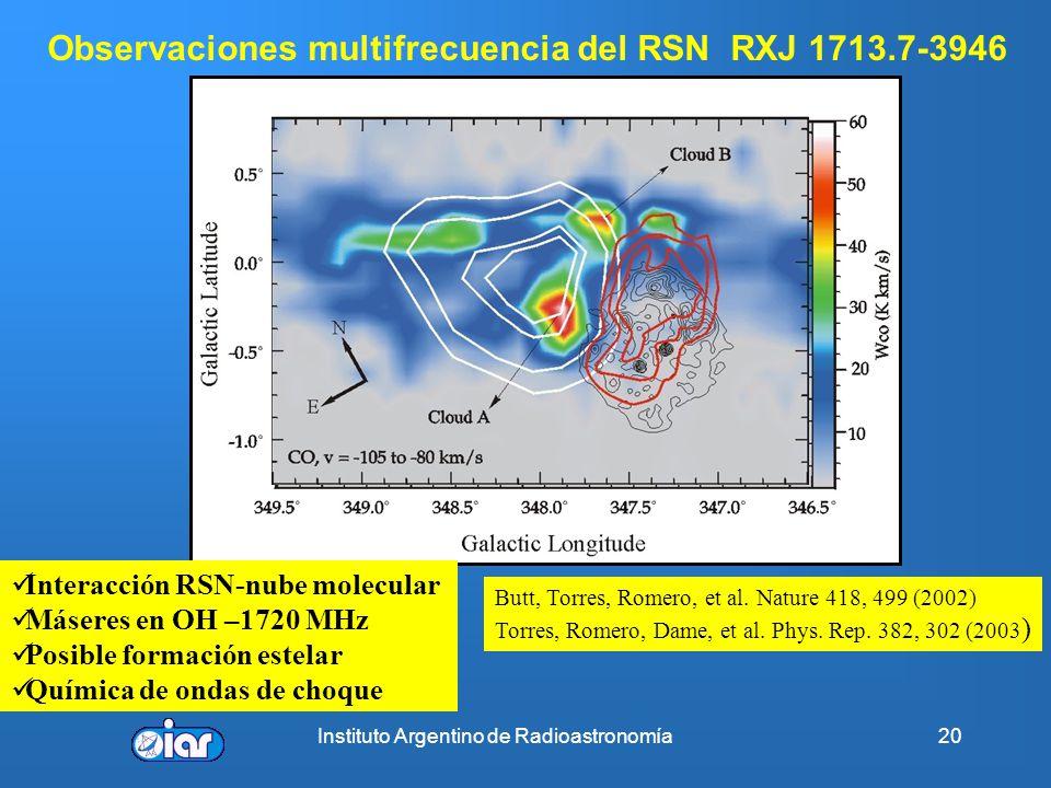 Instituto Argentino de Radioastronomía19 Evolución temporal de la emisión de SN 1987 ( λ~12mm) ATCA Observaciones similares permiten construir la curv