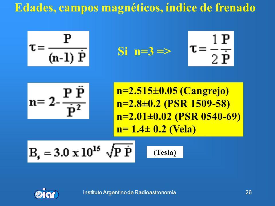 Instituto Argentino de Radioastronomía25 Frenado del pulsar o Spin-Down Frenado del pulsar o Spin-down P se incrementa por pérdida energía rotacional,
