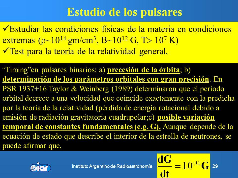 Instituto Argentino de Radioastronomía28 Remanente de supernova + pulsar + nebulosa de viento del pulsar RSN a ~4.6 kpc ANTES (clásico!) τ pul ~16.000
