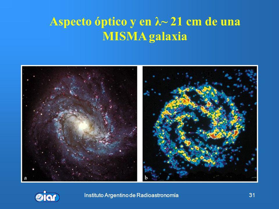 Instituto Argentino de Radioastronomía30 Espectroscopía del átomo de hidrógeno (HI) en radio