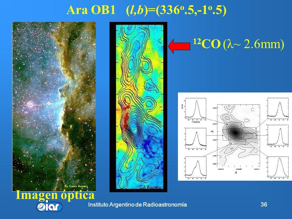 Instituto Argentino de Radioastronomía35 Propiedades del medio interestelar El estudio de la emisión de HI en λ~ 21 cm posibilita : Campo de velocidad