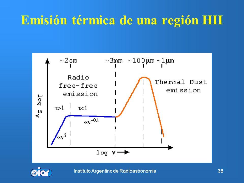 Instituto Argentino de Radioastronomía37 Regiones HII compactas y ultracompactas Algunas propiedades: 2 x10 3 < n e < 2 x10 5 cm -3 0.005 pc < d < 0.5