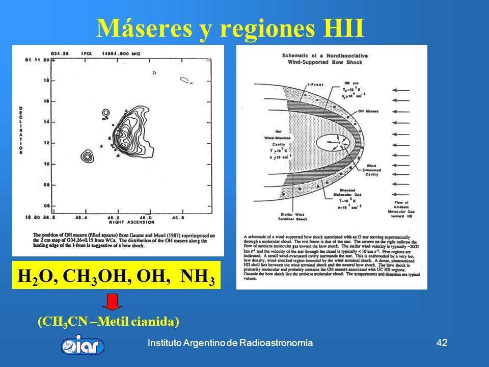 Instituto Argentino de Radioastronomía41 Edades y Tasa de formación estelar Evolución clásica => tasa de formación ~8 M o /año Solución: Bow shock=> c