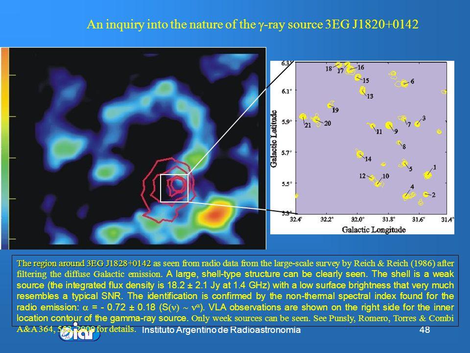 Instituto Argentino de Radioastronomía47 Resumen Permite la observación de fenómenos que no tienen contrapartida a otras frecuencias Posibilita, en al