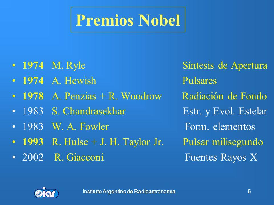 Instituto Argentino de Radioastronomía25 Frenado del pulsar o Spin-Down Frenado del pulsar o Spin-down P se incrementa por pérdida energía rotacional, Evolución de la frecuencia de rotación