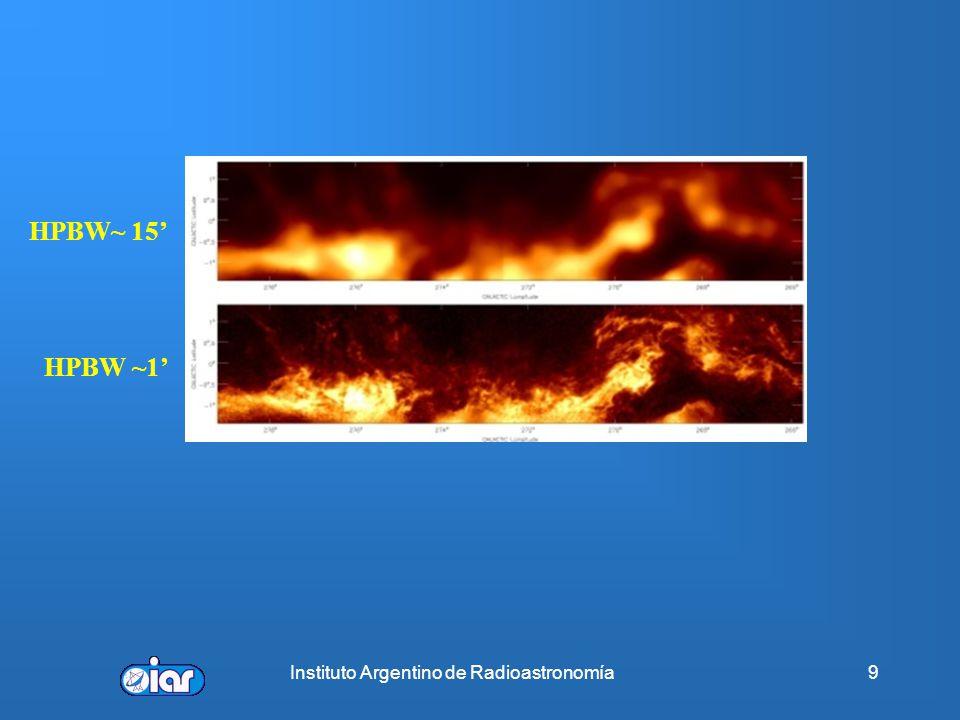 Instituto Argentino de Radioastronomía39 Morfologías observadas Irregulares o con máximos múltiples (~17%) Núcleo – halo (~16%) Esféricas o no resueltas (~ 43%) Cáscara (~ 4%) Cometarias (~20 %)