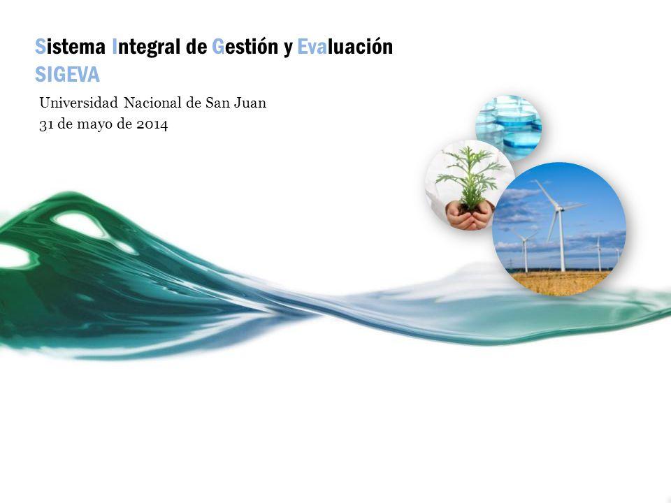 Sistema Integral de Gestión y Evaluación SIGEVA Universidad Nacional de San Juan 31 de mayo de 2014