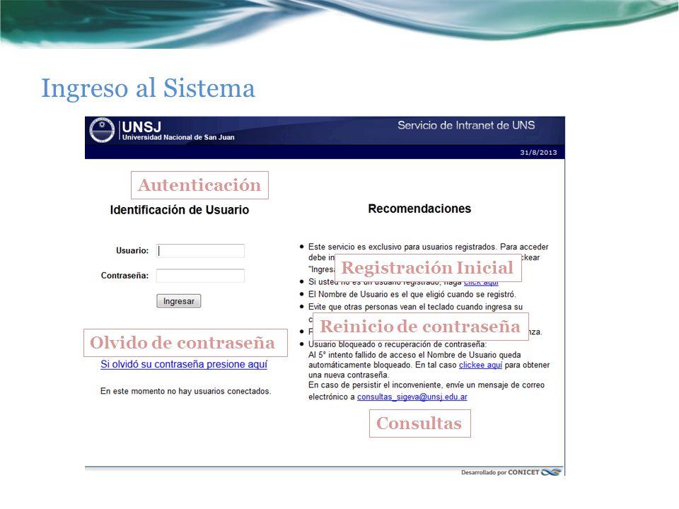 Ingreso al Sistema Autenticación Olvido de contraseña Registración Inicial Reinicio de contraseña Consultas