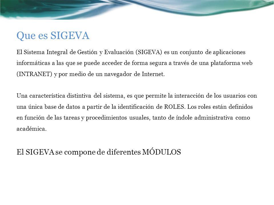 Que es SIGEVA El Sistema Integral de Gestión y Evaluación (SIGEVA) es un conjunto de aplicaciones informáticas a las que se puede acceder de forma segura a través de una plataforma web (INTRANET) y por medio de un navegador de Internet.