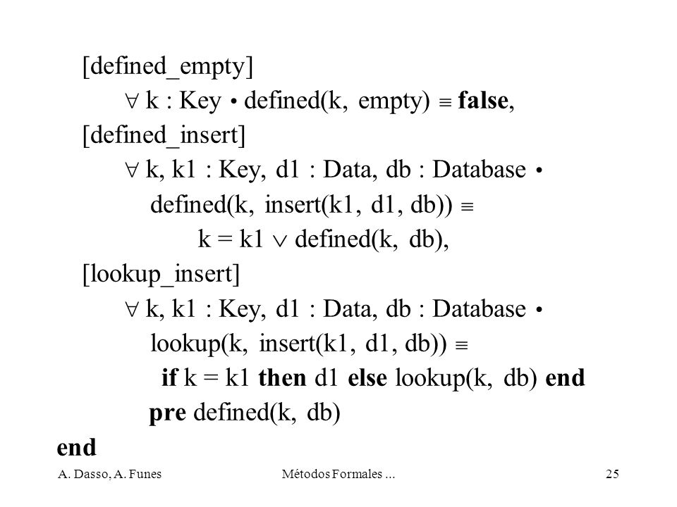 A. Dasso, A. FunesMétodos Formales...25 [defined_empty] k : Key defined(k, empty) false, [defined_insert] k, k1 : Key, d1 : Data, db : Database define