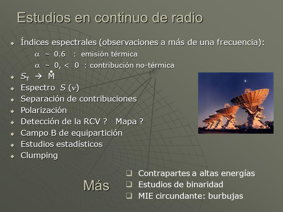 Estudios en continuo de radio Índices espectrales (observaciones a más de una frecuencia): Índices espectrales (observaciones a más de una frecuencia)