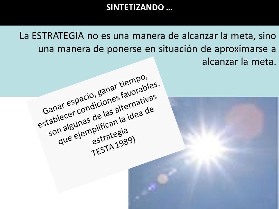 La ESTRATEGIA no es una manera de alcanzar la meta, sino una manera de ponerse en situación de aproximarse a alcanzar la meta.