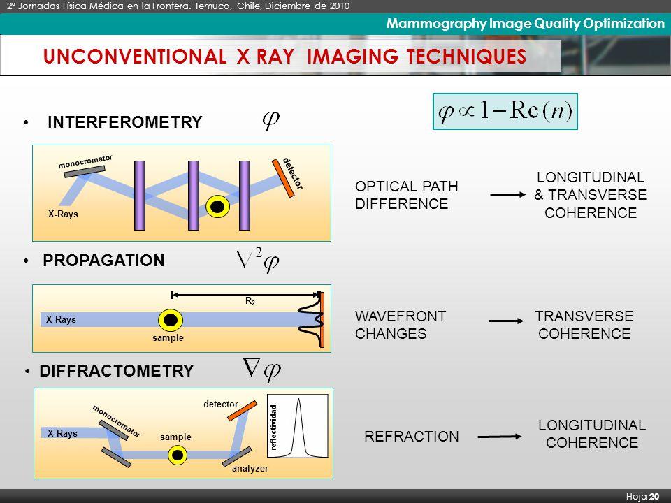 X Seminario Latinoamericano de Análisis por Técnicas de Rayos X, SARX 2006 Hoja 20 Imágenes de Rayos X de Alto Contraste 2º Jornadas Física Médica en la Frontera.