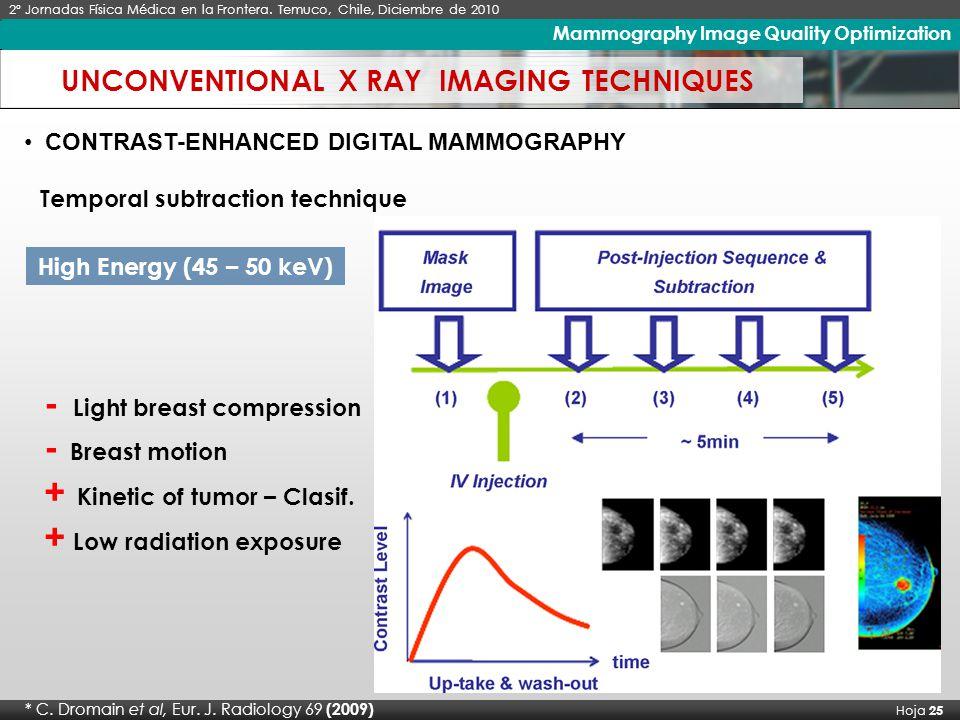 X Seminario Latinoamericano de Análisis por Técnicas de Rayos X, SARX 2006 Hoja 25 Imágenes de Rayos X de Alto Contraste 2º Jornadas Física Médica en la Frontera.