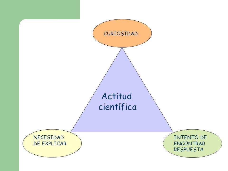 Actitud científica NECESIDAD DE EXPLICAR CURIOSIDAD INTENTO DE ENCONTRAR RESPUESTA