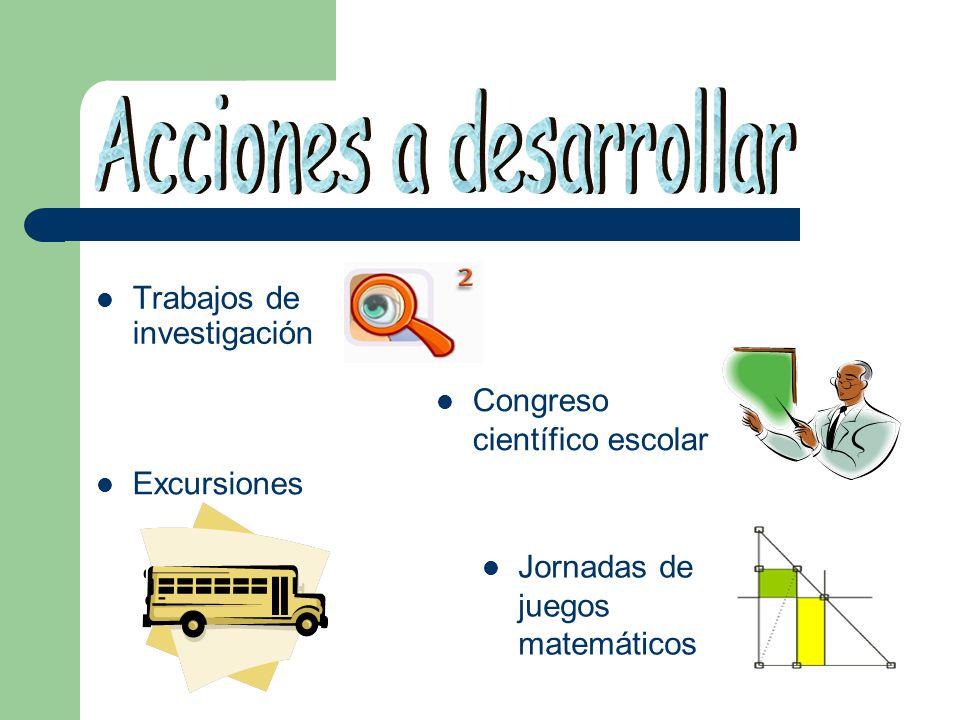 Trabajos de investigación Congreso científico escolar Excursiones Jornadas de juegos matemáticos