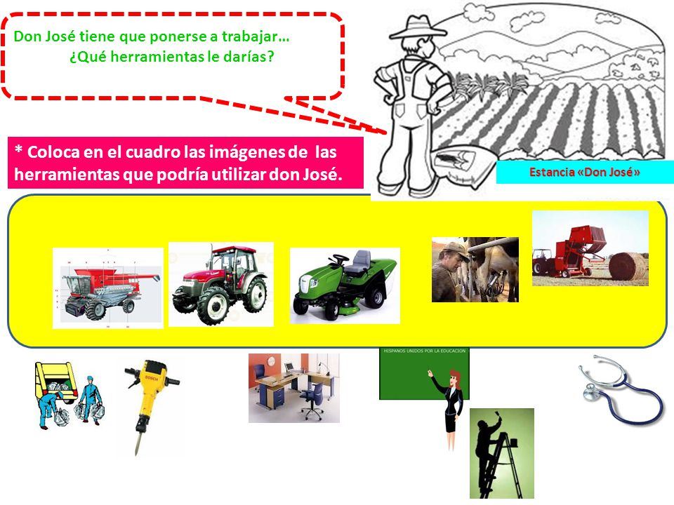 * Coloca en el cuadro las imágenes de las herramientas que podría utilizar don José.