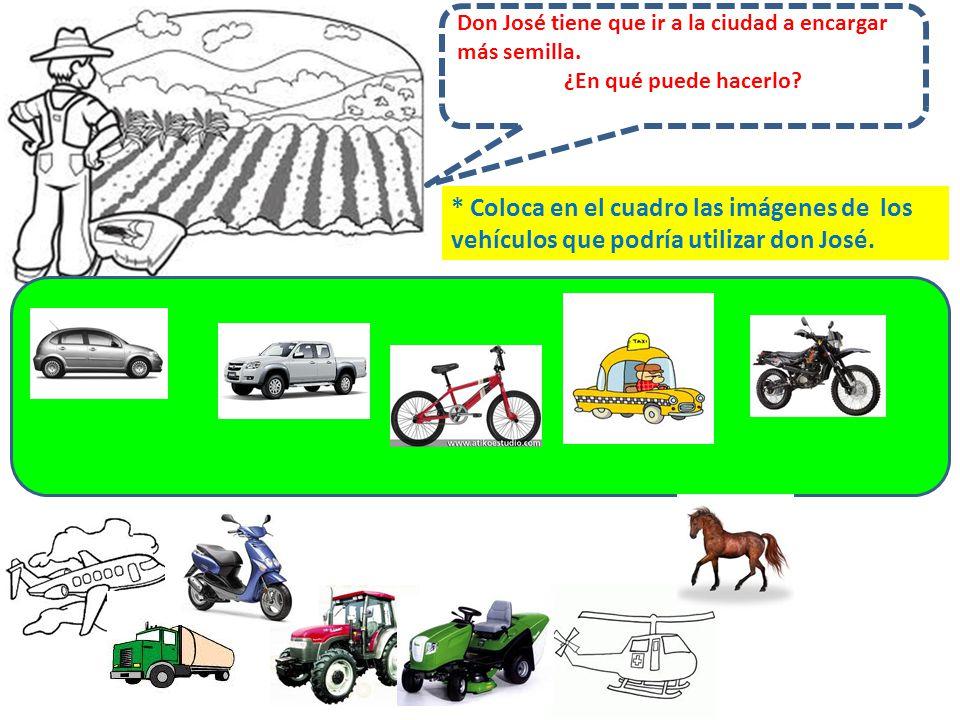 * Coloca en el cuadro las imágenes de los vehículos que podría utilizar don José.