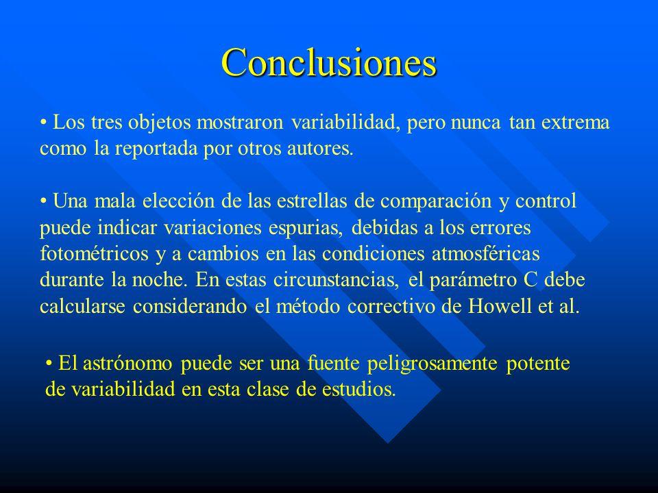 Conclusiones Los tres objetos mostraron variabilidad, pero nunca tan extrema como la reportada por otros autores.