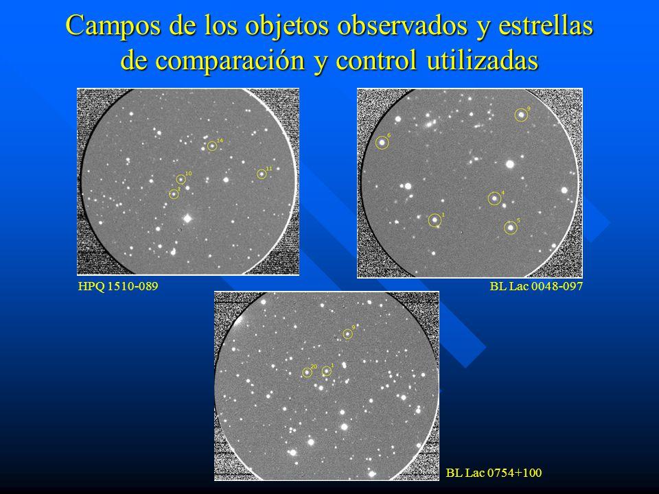 Campos de los objetos observados y estrellas de comparación y control utilizadas HPQ 1510-089BL Lac 0048-097 BL Lac 0754+100