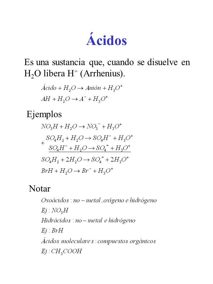 Ácidos Es una sustancia que, cuando se disuelve en H 2 O libera H + (Arrhenius). Ejemplos Notar