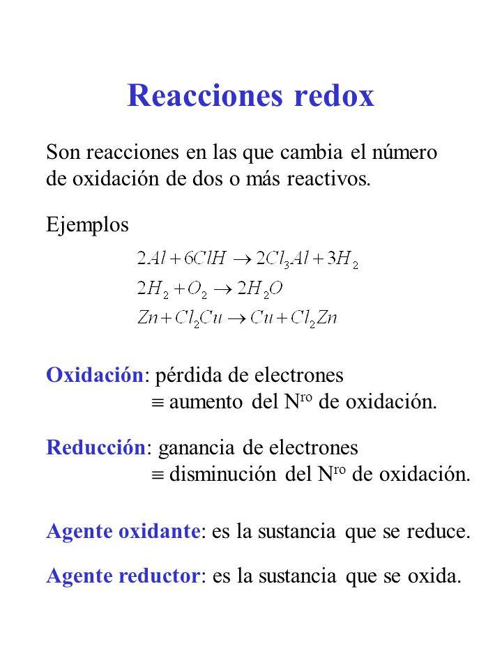 Reacciones redox Son reacciones en las que cambia el número de oxidación de dos o más reactivos. Oxidación: pérdida de electrones aumento del N ro de