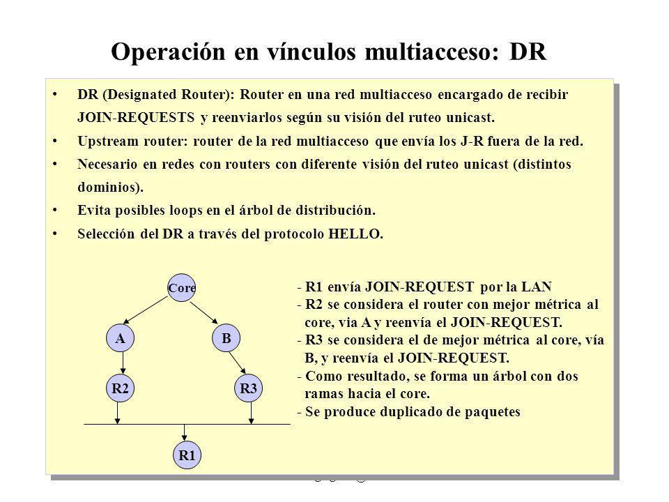 IP Multicast 1999 - grigotti@exa.unicen.edu.ar6 Operación en vínculos multiacceso: DR DR (Designated Router): Router en una red multiacceso encargado de recibir JOIN-REQUESTS y reenviarlos según su visión del ruteo unicast.