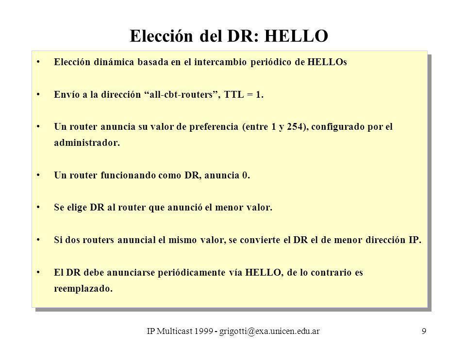 IP Multicast 1999 - grigotti@exa.unicen.edu.ar9 Elección del DR: HELLO Elección dinámica basada en el intercambio periódico de HELLOs Envío a la dirección all-cbt-routers, TTL = 1.