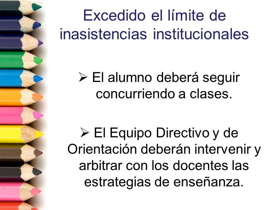 Excedido el límite de inasistencias institucionales El alumno deberá seguir concurriendo a clases. El Equipo Directivo y de Orientación deberán interv