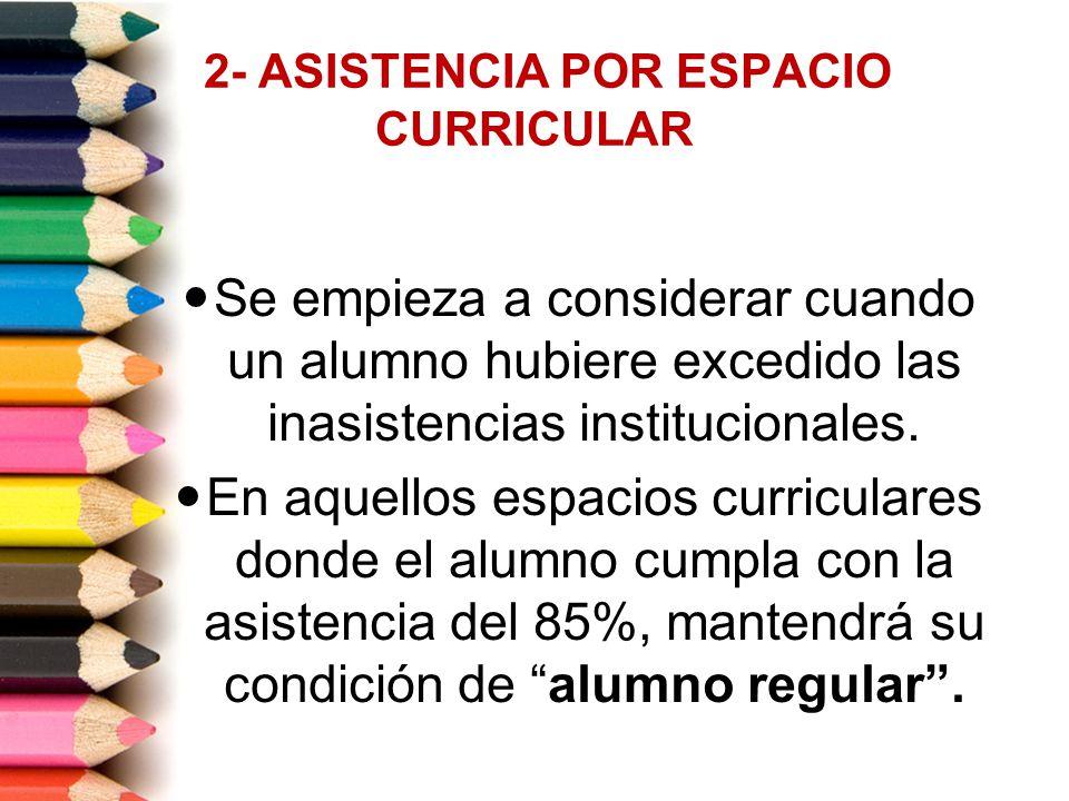 2- ASISTENCIA POR ESPACIO CURRICULAR Se empieza a considerar cuando un alumno hubiere excedido las inasistencias institucionales. En aquellos espacios