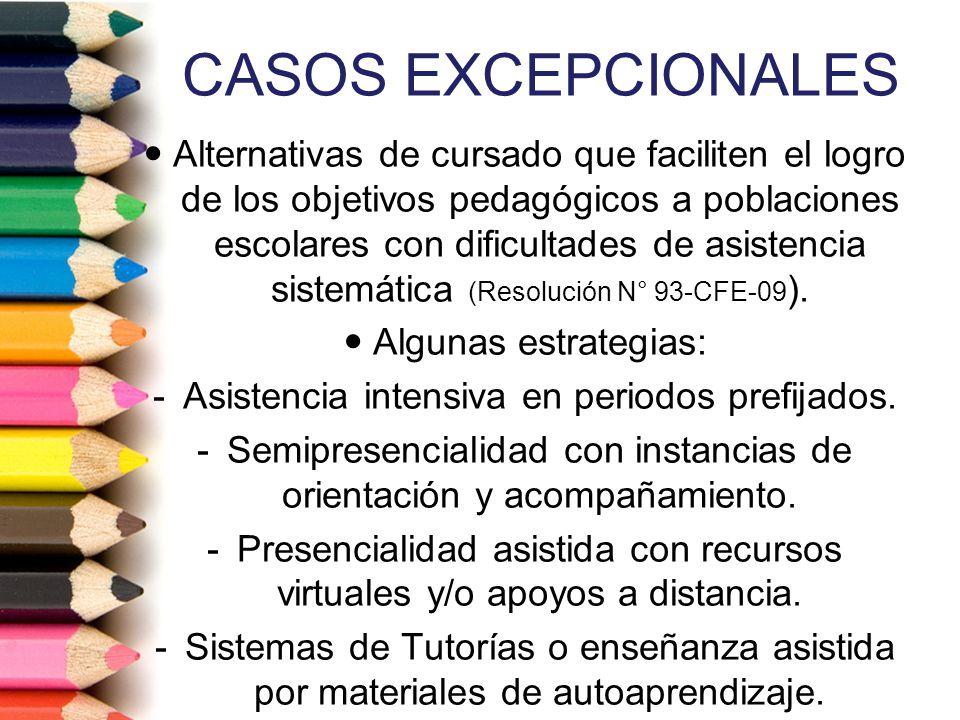 CASOS EXCEPCIONALES Alternativas de cursado que faciliten el logro de los objetivos pedagógicos a poblaciones escolares con dificultades de asistencia