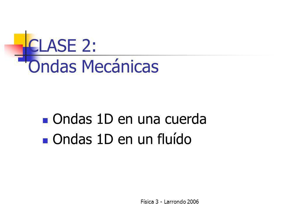 Física 3 - Larrondo 2006 Ondas 1D en una cuerda Ondas 1D en un fluído CLASE 2: Ondas Mecánicas
