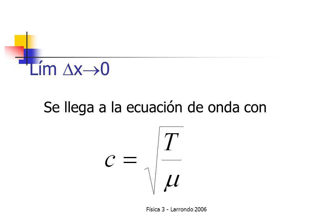 Física 3 - Larrondo 2006 Se llega a la ecuación de onda con Lím x 0