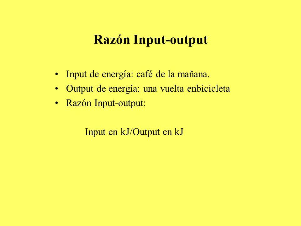 Razón Input-output Input de energía: café de la mañana.