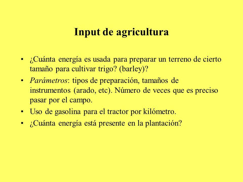 Input de agricultura ¿Cuánta energía es usada para preparar un terreno de cierto tamaño para cultivar trigo.