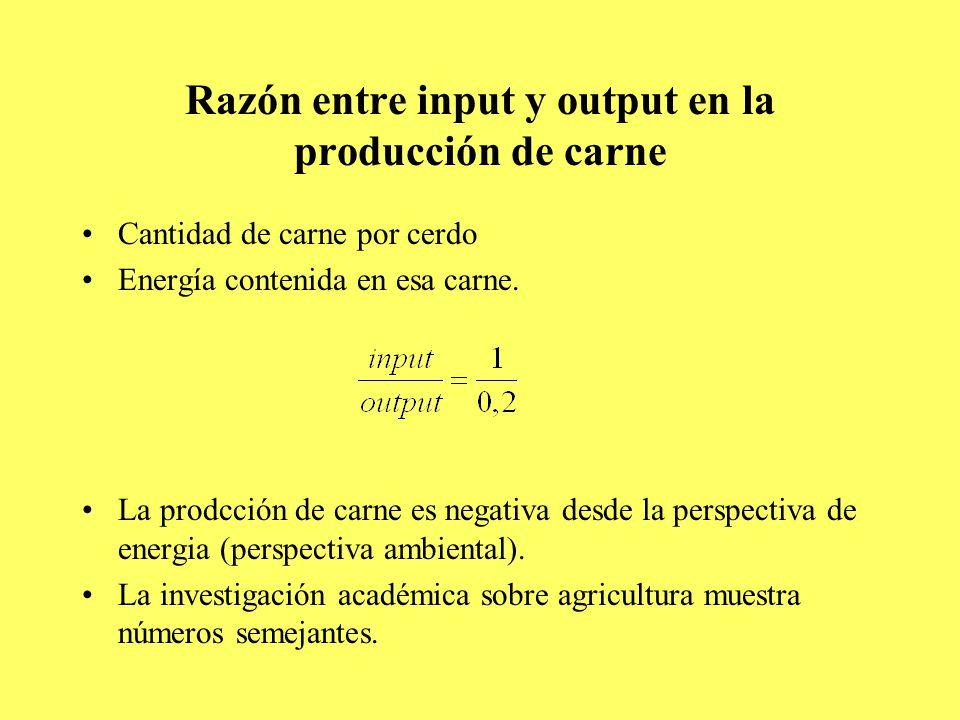 Razón entre input y output en la producción de carne Cantidad de carne por cerdo Energía contenida en esa carne.