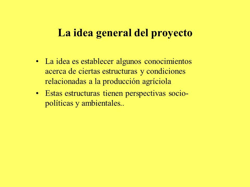 La idea general del proyecto La idea es establecer algunos conocimientos acerca de ciertas estructuras y condiciones relacionadas a la producción agríciola Estas estructuras tienen perspectivas socio- políticas y ambientales..