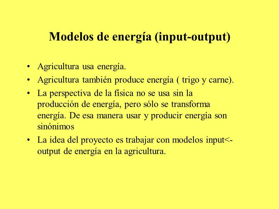 Modelos de energía (input-output) Agricultura usa energía.