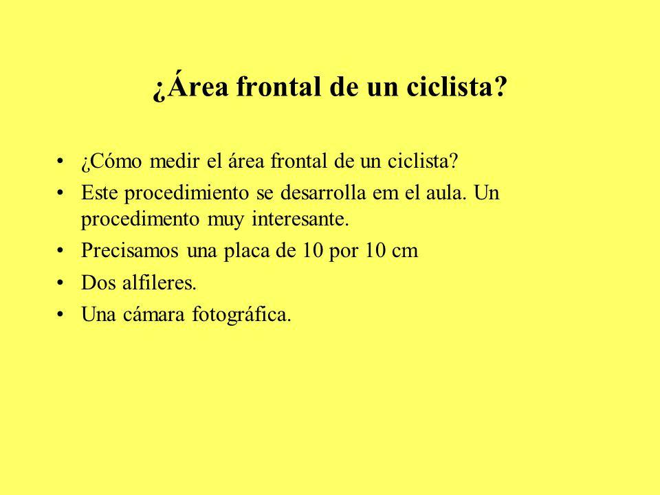 ¿Área frontal de un ciclista. ¿Cómo medir el área frontal de un ciclista.