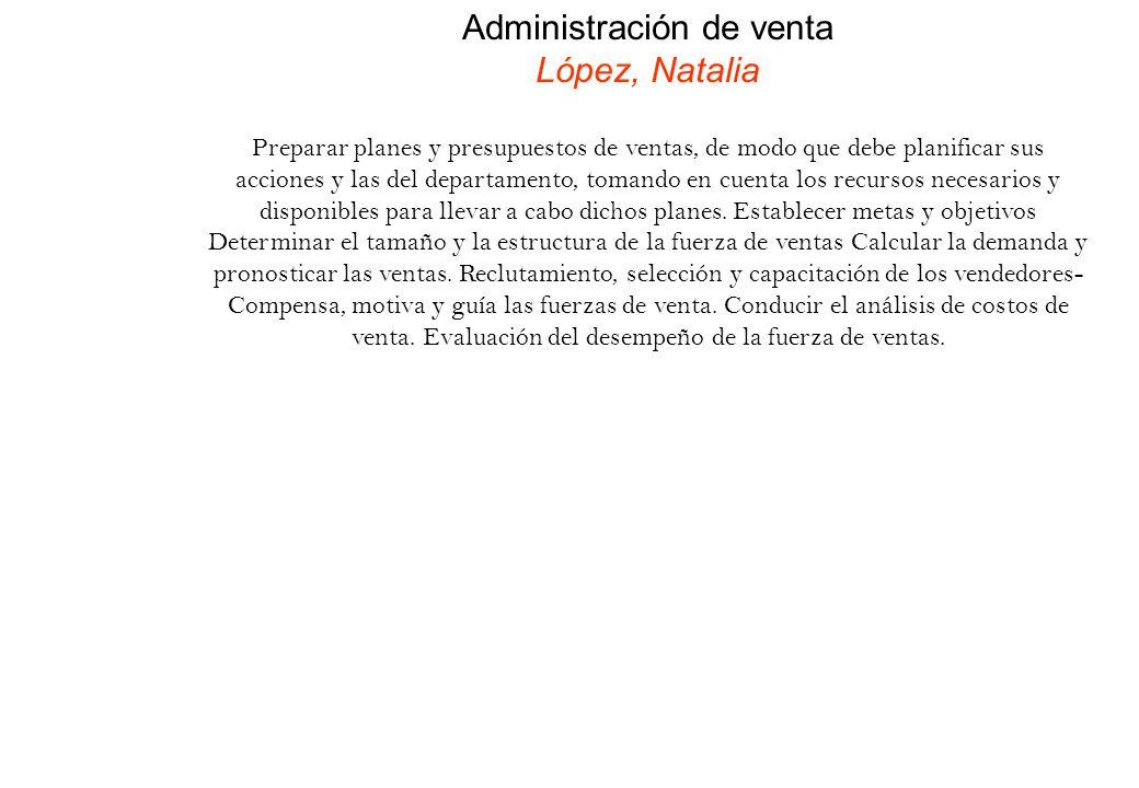 Administración de venta López, Natalia Preparar planes y presupuestos de ventas, de modo que debe planificar sus acciones y las del departamento, toma
